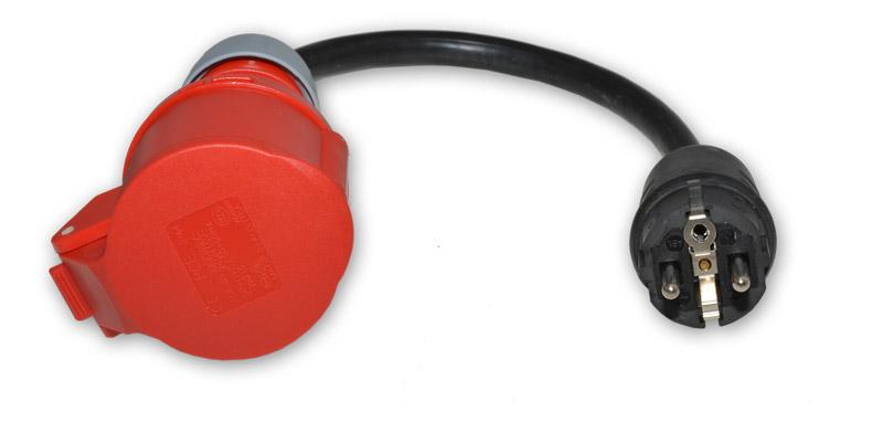 cee 16a kupplung adapter auf 230v schuko stecker lecos elektronik alles f r die mobile. Black Bedroom Furniture Sets. Home Design Ideas